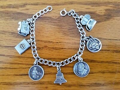 Bell System Charm Bracelet with 7 Charms Sterling Silver