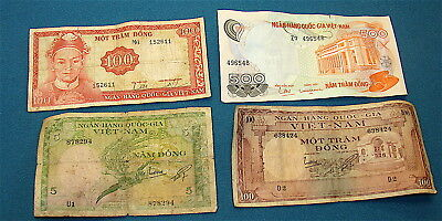 VIETNAM S.---Lot of Four (4) Vintage Currency Notes--Circulated Condition