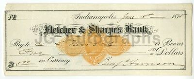 Benjamin Harrison - 23rd U.S. President - Authentic Autographed 1875 Check