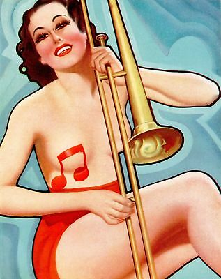 French Pinups: Pep Stories Bergey Brunette Girl w// Tiara /& Necklace 1936