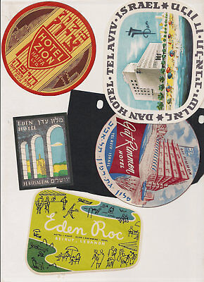 Hotel Israel Lebanon Advertising Luggage Label Poster stamp Lot Collection of 5