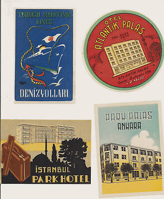 Hotel Turkey Advertising Luggage Label Poster stamp Lot Collection of 4