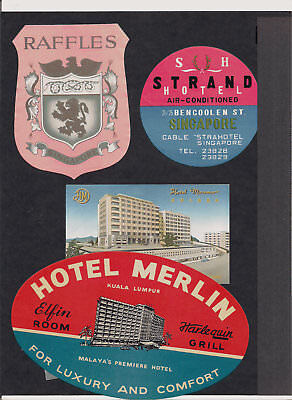 Hotel Singapore Advertising Luggage Label Poster stamp Lot Collection of 6