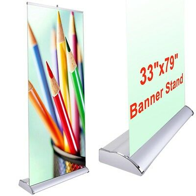 "2pcs 33x79"" Aluminum Pop Up Banner Stand Trade Show Fair Wedding Party Display"