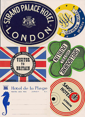 British Hotel Advertising Luggage Label Poster stamp Lot Collection of 23