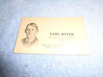 1910 Business Card Earl Boyer Jones County Anamosa Recorder