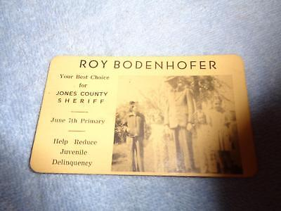 Early  Business Card Roy Bodenhofer Jones County Anamosa Sheriff