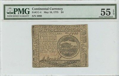 1775 May 10 $4 Continental Currency CC-4 PMG AU55 EPQ