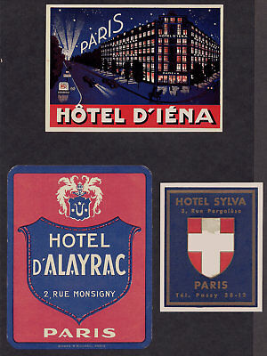 France Monaco Hotel Advertising Luggage Label Poster stamp Lot1 Collection of 42