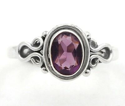 Amethyst 925 Solid Sterling Silver Ring Jewelry Sz 8
