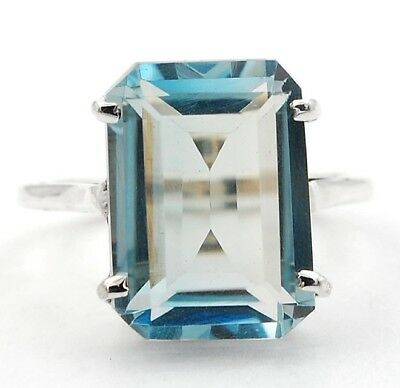 14CT Aquamarine 925 Solid Sterling Silver Ring Jewelry Sz 9