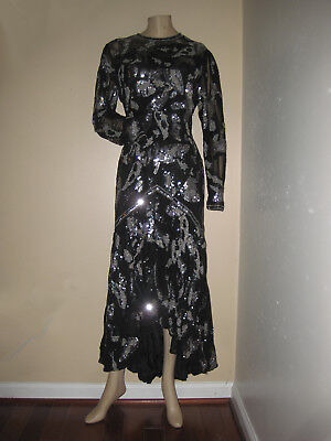 WOW!!!  Vintage 80s Black Silver Sequin Beaded Cocktail Formal Evening Dress S/M