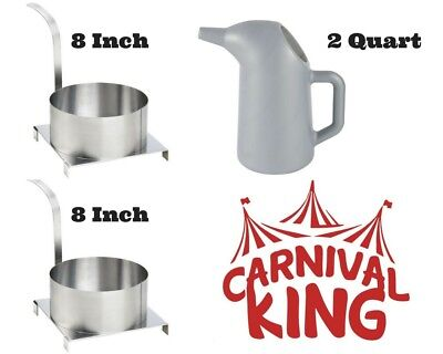 """Funnel Cakes 2 Qt Batter Pouring Pitcher and 2 Stainless Steel 8"""" Molding Rings"""