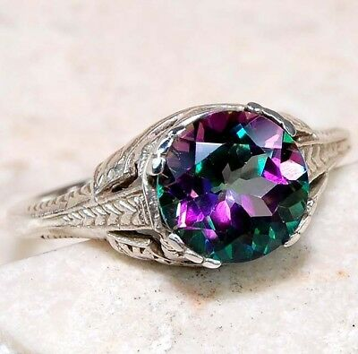 1CT Rainbow Topaz 925 Solid Sterling Silver Art Deco Ring Jewelry Sz 9