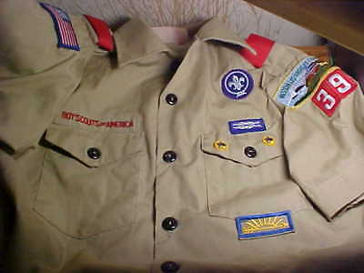 Bsa Boy Scout Shirt, Size Youth Large,  Patches & Pins