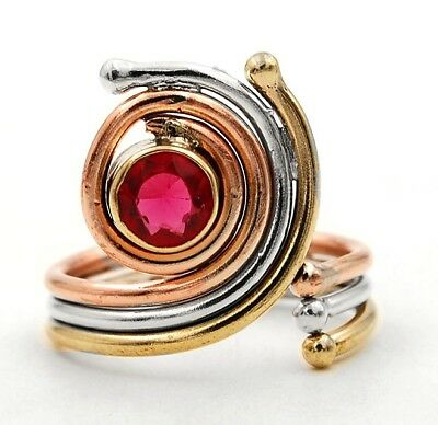 Three Tone- Rubellite Tourmaline 925 Solid Sterling Silver Ring Jewelry Sz 8.5
