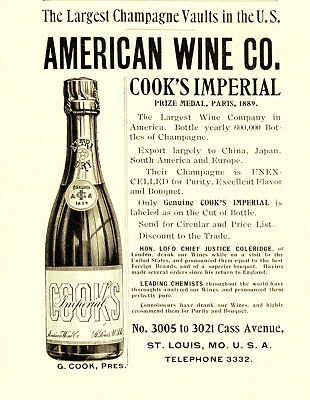 1896 American Wine Company, St Louis, Missouri Cook's Champagne Advertisement