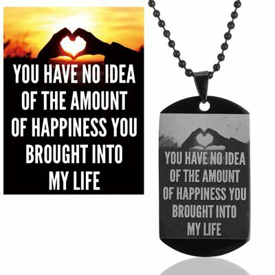 Family Personalized Photo Custom Dog Tag Engraving Necklace Free Keychain Box