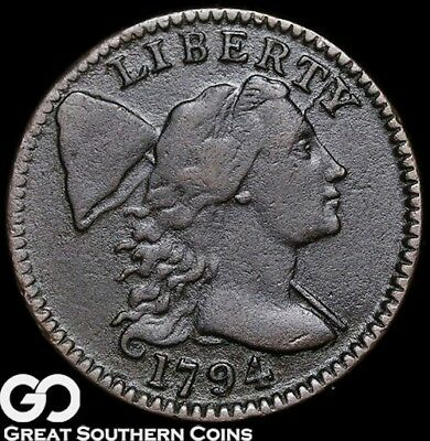1794 Large Cent, Flowing Hair Liberty Cap, Very Scarce XF+ Early Copper Type!