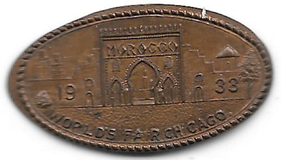 1933 Morocco, elongated cent, World's Fair Chicago ILL-CPIE-83