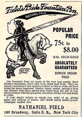1906 Field's Pride Fountain Pen Ad-Knight On Horse