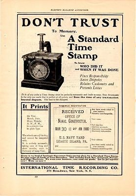 1901 International Time Recording Co. Ad-Time Stamp