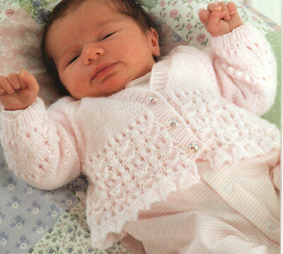 """Pretty Lace Cardigans 4 Options Prem 10""""- 18"""" 4 Ply Baby Knitting Pattern"""