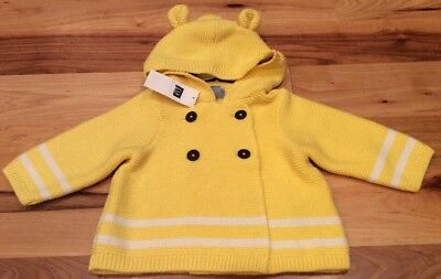 Baby Gap Boys 6-12 Months Bright Yellow Sweater With Bear Ears. Nwt