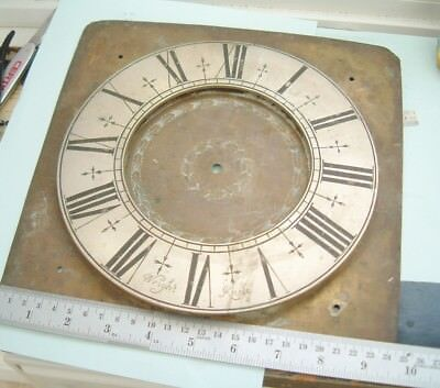 Clock maker Longcase grandfather clock brass dial chapter ring by wright  Knole