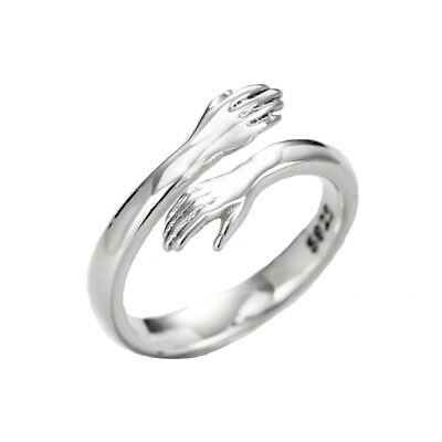 Sterling Silver Hands Ring Open Band Wrap Around Hug 925 Silver novelty quirky