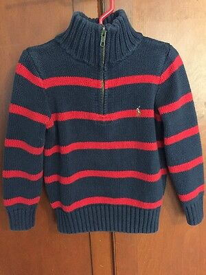 Boy's Polo Ralph Lauren Sweater, Navy & Red, Size 4