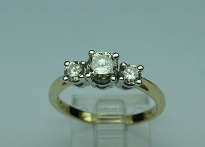 1cttw Diamond 3 stone ring CHAMPAGNE 14k 2tone gold size 7 No Reserve great look