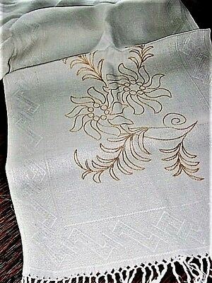 """Vtg.Linen Bath Towel 15x60"""" w/2""""Hd.KnottedFringe,Pretty Yellow floral Embroidery"""