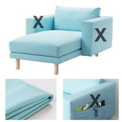 Ikea Norsborg 2 Seater Sofa W Chaise Cover Only Grasbo Light Blue 703 040 84