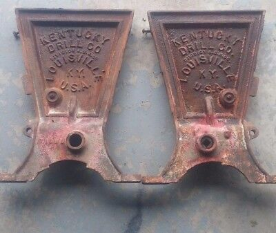 Set of Old Antique Cast Iron Kentucky Drill Co. Grain Drill Seeder Ends (bench)