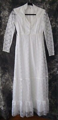 Long 70s Vintage Lace Wedding Dress Boho Beach Wedding Size 5 Small REDUCED