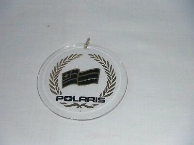 Clear Acrylic Polaris Christmas Tree Ornament Snowmobile Black Gold Round