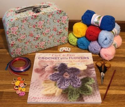 Learn To Crochet Kit With Cute & Easy With Flowers Book Nicki Trench 6 Box Style