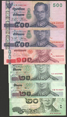 Thailand 500 100 20 baht Total 1160 Baht=37USD used condition