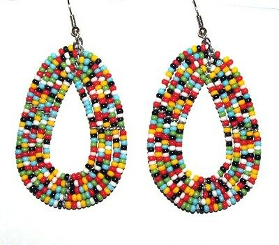 """Traditional South African Beaded Teardrop Earrings 2.25"""" FREE SHIPPING T05"""