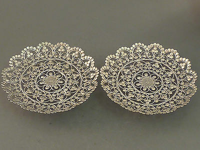 Pair Of Indian Silver Dishes Made From Chuckram Small Coins