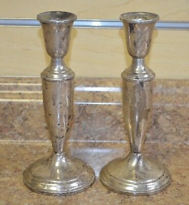 "Pair of Vintage Towle 703 Sterling Silver 7-3/8"" Weighted Candle Sticks Holders"
