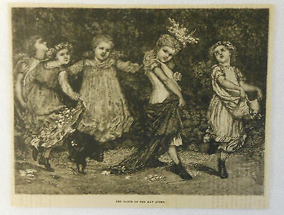 1882 magazine engraving ~ GIRLS, Dance of the May Queen