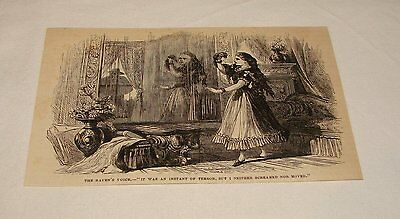 1876 magazine engraving ~ WOMAN FRIGHTENED BY MAN IN WINDOW
