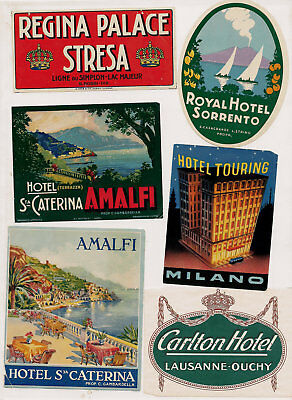 Hotel Europe Italy Switzerland  Advertising Luggage Label Poster stamp Lot of 20