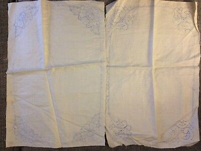 Lot of 2 Vintage Stamped for Embroidery Linen Dresser or Table Toppers