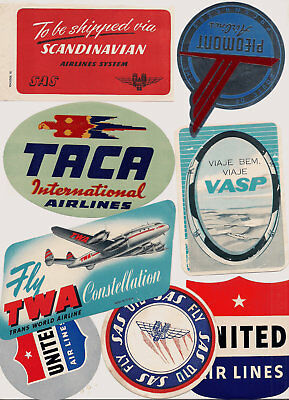 Airline Etiquette Hotel World Aviation Luggage Labels Poster stamp lot of 36