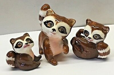 LOT of 3 RACCOON Miniature family BONE CHINA JAPAN Wild Animal Figurine RACOON