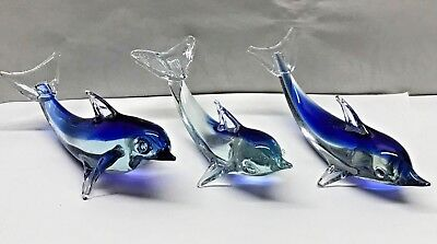 Lot of 3 Blown ART GLASS DOLPHIN Figurine Fish Sea Marine Life Porpoise BLUE