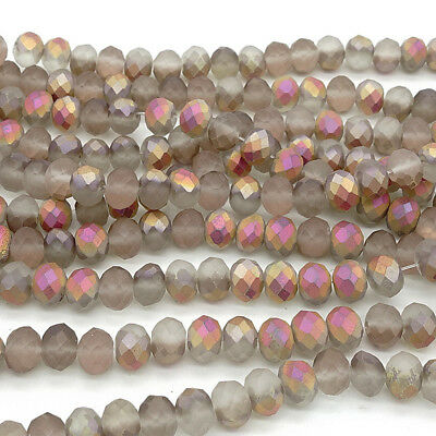 2018 new Rondelle Faceted Crystal Glass Loose Spacer Scrub Beads 4mm6mm8mm